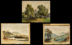 Three Small Watercolour Drawings, all unframed, depicting Windsor Castle (indistinctly signed) 9'' x