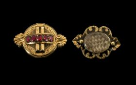 19thC Mourning Brooch Of Shaped Form, The Front With A Row Of Coloured Stones,