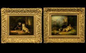 Pair of Oil Paintings Paul Jones - Animal Painter 1856-1888 - Titled 'Terriers Ratting' and