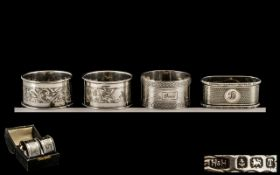 Pair Of Silver Napkin Rings Engraved Floral Decoration, Fully Hallmarked For Chester O 1914,