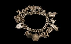 Antique Period - Silver Bracelet Loaded with ( 14 ) Good Quality Silver Charms,