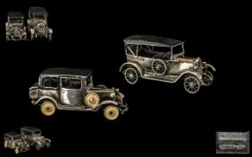 A Pair of Finely Detailed Sterling Silver Miniature Scale Model Classic Cars ( 2 ) with Moving