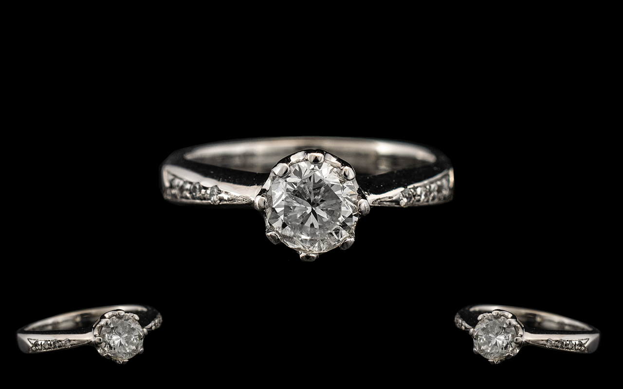 Lot 18A - Ladies 18ct White Gold - Attractive Single Stone Diamond Ring, The Diamond of Excellent Colour,