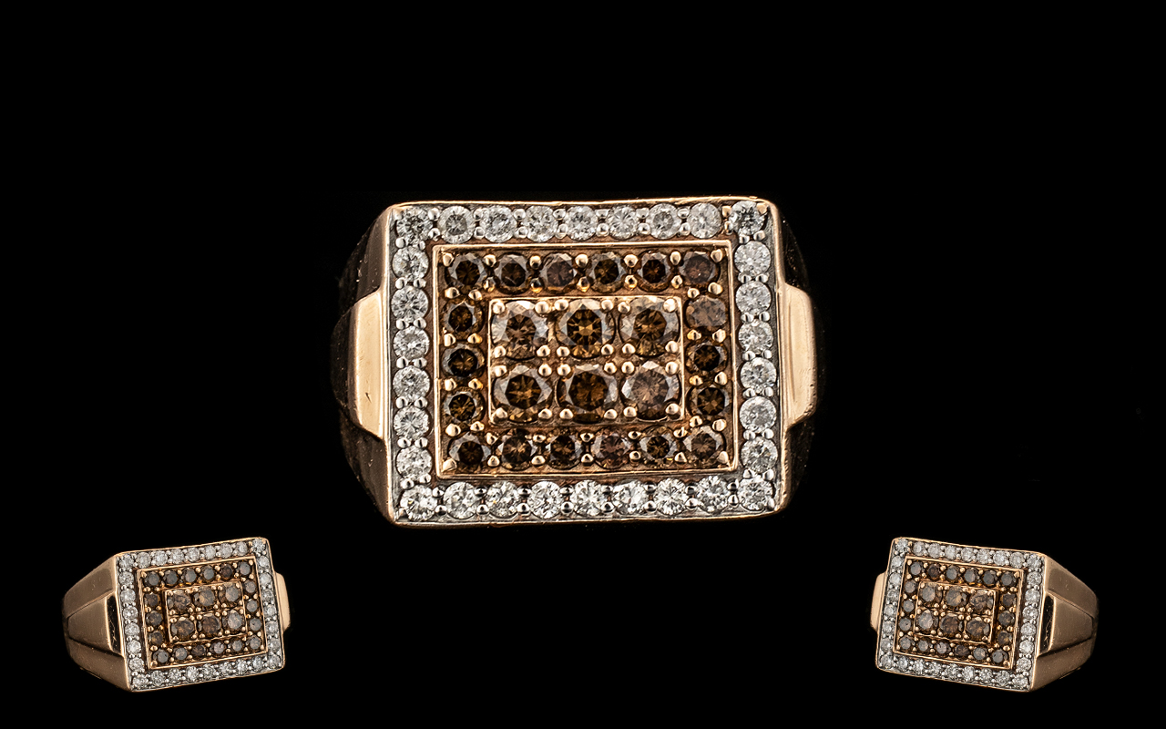 Lot 36 - Gents 14ct Rose Gold Excellent Quality Diamond Set Cluster Ring of attractive design and form.