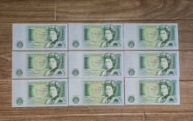 A Collection of Nine ( 9 ) United Kingdom One Pound Banknotes.