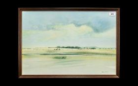 Watercolour Print by Richard Rennie depicting a landscape. Measures 25'' x 17.5'' including frame.