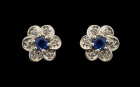 18ct White Gold Diamond & Sapphire Stud Earrings, Lovely Quality. Please See Image.