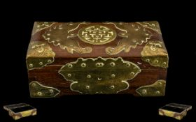 Antique Chinese Hardwood Lidded Box - applied with Brass fret worked bats and other motifs. 8'' in