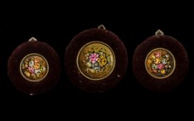 Set of ( 3 ) Porcelain Roundel's Painted with Flowers In Red Plush Velvet Frames, Unsigned.