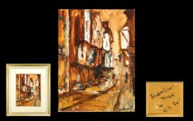James Lawrence Isherwood (1917-1989) Oil on Board. Titled Shambles York to verso. Signed lower