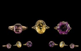 Three 9ct Gold Dress Rings All Early 20thC, Set With A Citrine Stone, Unmarked Shank,