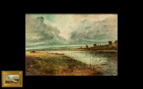 Watercolour Drawing Titled ' The Silver Thames' signed B Lightbown, depicting a river landscape with