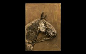 Antique Silver Plated Wall Plaque Depicting a Horses Head with Reigns In Its Mouth, Finely Detailed.