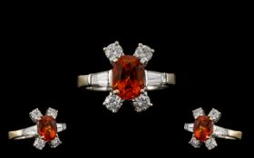 Stunning 18ct Whit Gold Orange Sapphire and Diamond Dress Ring of Top Quality In All Aspects. c.