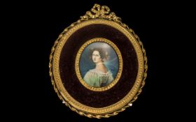 Italian Gilt Framed Oval Miniature Painted on Ivory of an Elegant Lady,