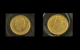 Royal Mint United Kingdom Britannia 1/10 of Five 10 Pound Gold Coins. Dated 2000, London Mint.