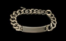 Heavy Silver ID Bracelet Length 10 Inches,