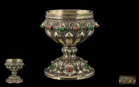 Art Nouveau - Stylished Tulip Design Fine Quality and Impressive Cast Silver Gilt Stone Set Chalice