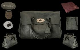 Mulberry - Bayswater Heritage Calfskin Hand Bag, Graphite Grey Colour way, Rolled Over Handles,
