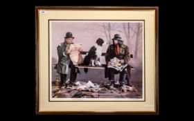 Larry Rushton Artist Signed Ltd Edition Colour Lithograph Print - Titled ' Tramps ' This Print Is