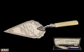 A Fine Quality Ceremonial Stone Laying Trowel In Nr Mint Condition with Original Fitted Box / Case.