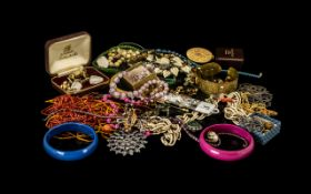 Cash Box Containing A Quantity Of Costume Jewellery To Include Chains, Rings, Beads, Bracelets,
