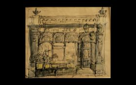 Joes Oyster Bar - A Fine Pen and Ink Drawing of this Famous Eating Establishment In London In the