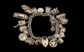 Antique Period - Nice Quality Silver Bracelet Loaded with ( 25 ) Charms, Includes Bus, Car, Train,