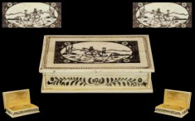 Scrimshaw Interest. Whale Bone Carved - Nice Quality Lidded Scrimshaw Box of Rectangular Shape