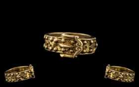 A 9ct Gold - Impressive Gents Solid / Heavy Gypsy Ring In The Form of a Studded Belt Buckle Design