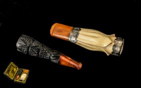 Victorian Double Cheroot Holder In Fitted Case To Include A Carved Jet And Amber,