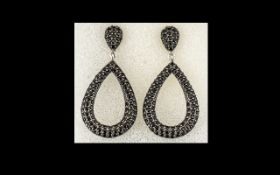 Black Spinel Pear Drop Loop Earrings, pear drop open loops, pave set with round cut black spinels,