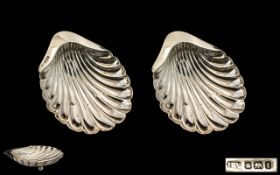 Edwardian Period Excellent Pair of Silver Shell Shaped Bon Bon Dishes, Raised on Ball Feet.