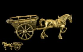 A Vintage Large & Impressive Solid Brass Handmade Horse & Cart, heavy, with moving parts. Measures