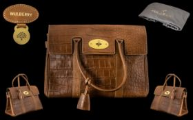 Mulberry - Excellent Quality Classic Bayswater Tanned Leather Bag with Brass Hardware Double Rolled