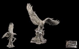 Comyns Wonderful Sterling Silver Sculpture of a Majestic Golden Eagle In Flight,