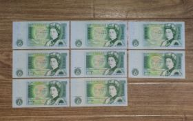 Collection Of Eight Bank Of England Banknotes J B Page One Pound Notes.