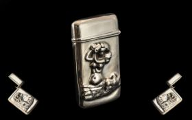 Vintage Sterling Silver Hinged Vesta Case, with Embossed Figure of a Mermaid to Front Cover.