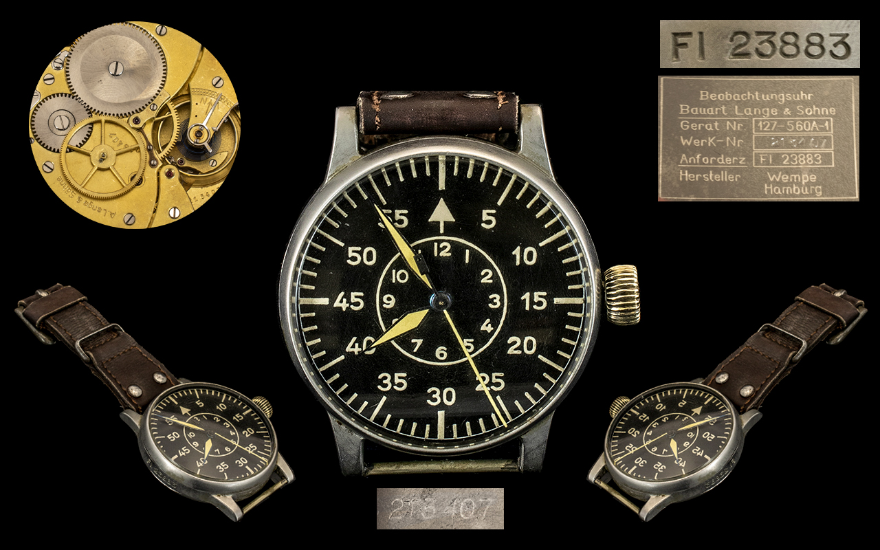 Lot 40 - Lange and Sohne World War II ( BIUHR ) German Luftwaffe Military Pilots Watch. This Historic