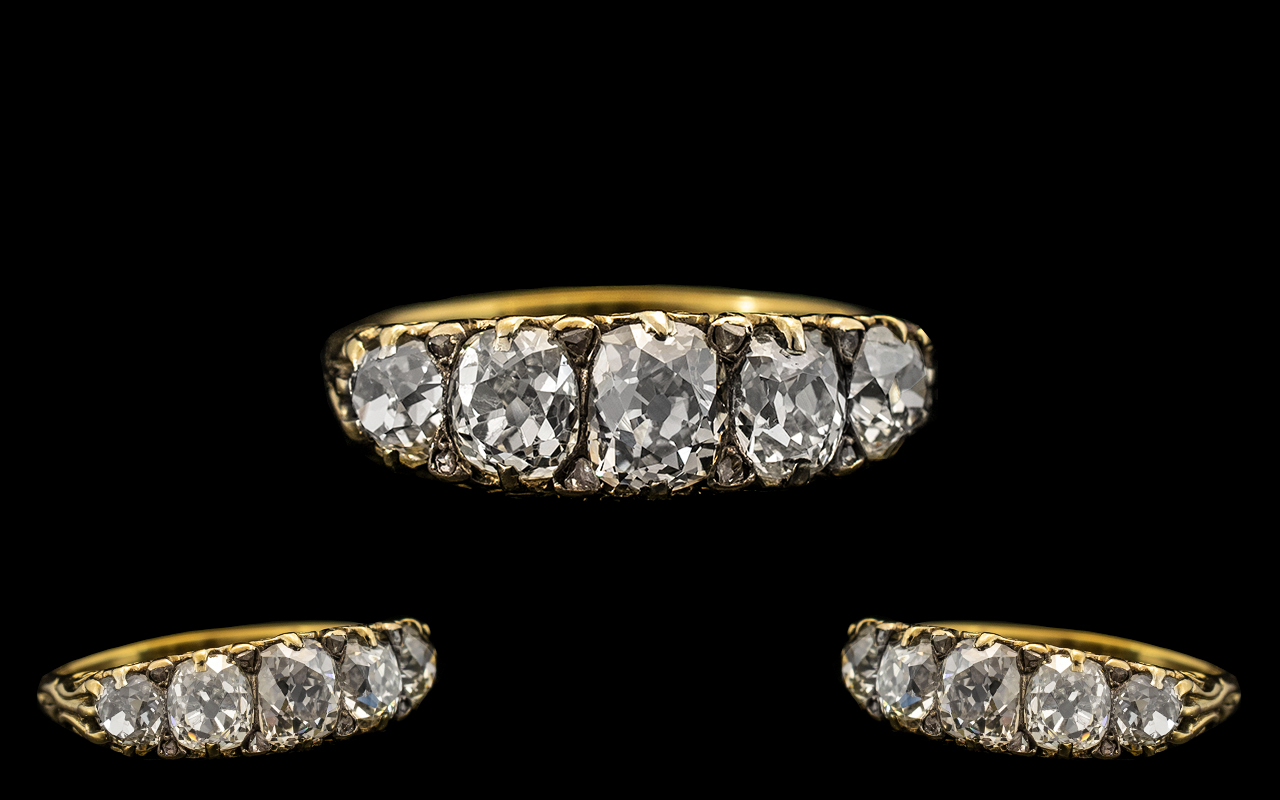 Lot 5 - Antique Period - Superb Quality and Stunning 5 Stone Diamond Set Dress Ring, Gallery Setting.