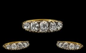 Antique Period - Superb Quality and Stunning 5 Stone Diamond Set Dress Ring, Gallery Setting.