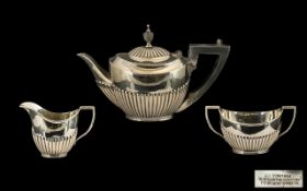 Edwardian Period - Nice Quality Bachelors Sterling Silver 3 Piece Tea Service of Excellent