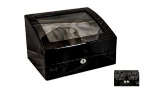 German - Delux Automatic Watch Winder Box with Display Storage / Compartment for Six Wrist Watches.