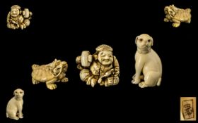 Japanese - Early 20th Century Collection of Signed Carved Ivory Netsukes ( 3 ) In Total.