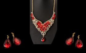 Scarlet and White Crystal Necklace and Earrings Set, a glamorous set, the front panel of the