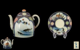 Small Antique Japanese Porcelain Teapot and Saucer,