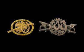 WWI Neuve Chapelle 1914 French Heavy Artillery 75 gun Battle Brooch, Gilt Metal, Lacking Pin.