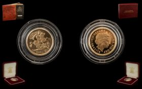 Royal Mint United Kingdom 22ct Gold Proof Struck Half Sovereign - Date 2001.