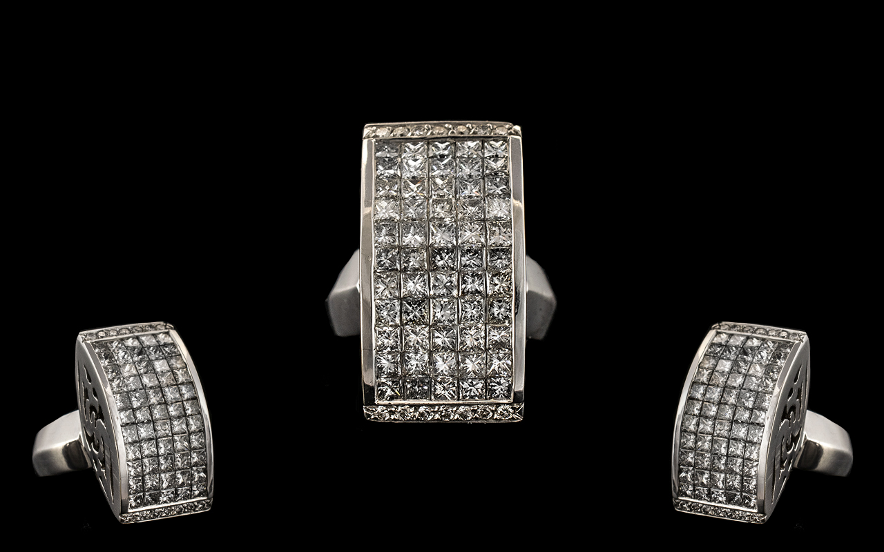Lot 14A - A Contemporary Designed 18ct White Gold - Stunning and Top Quality Diamond Set Dress Ring of Large