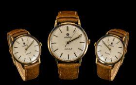 Roamer Pall Mall Gents 14ct Gold Mechanical Wrist Watch circa 1970. No. 414-8610-301. Marked